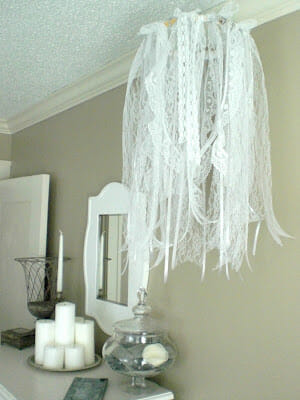 DIY Ribbon and Lace Chandelier