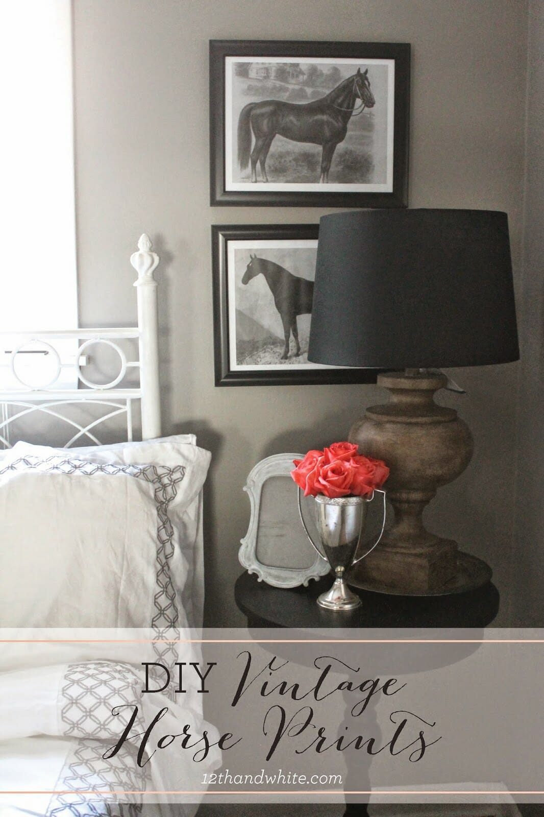 DIY Vintage Horse Prints {And Our Guest Bedroom}