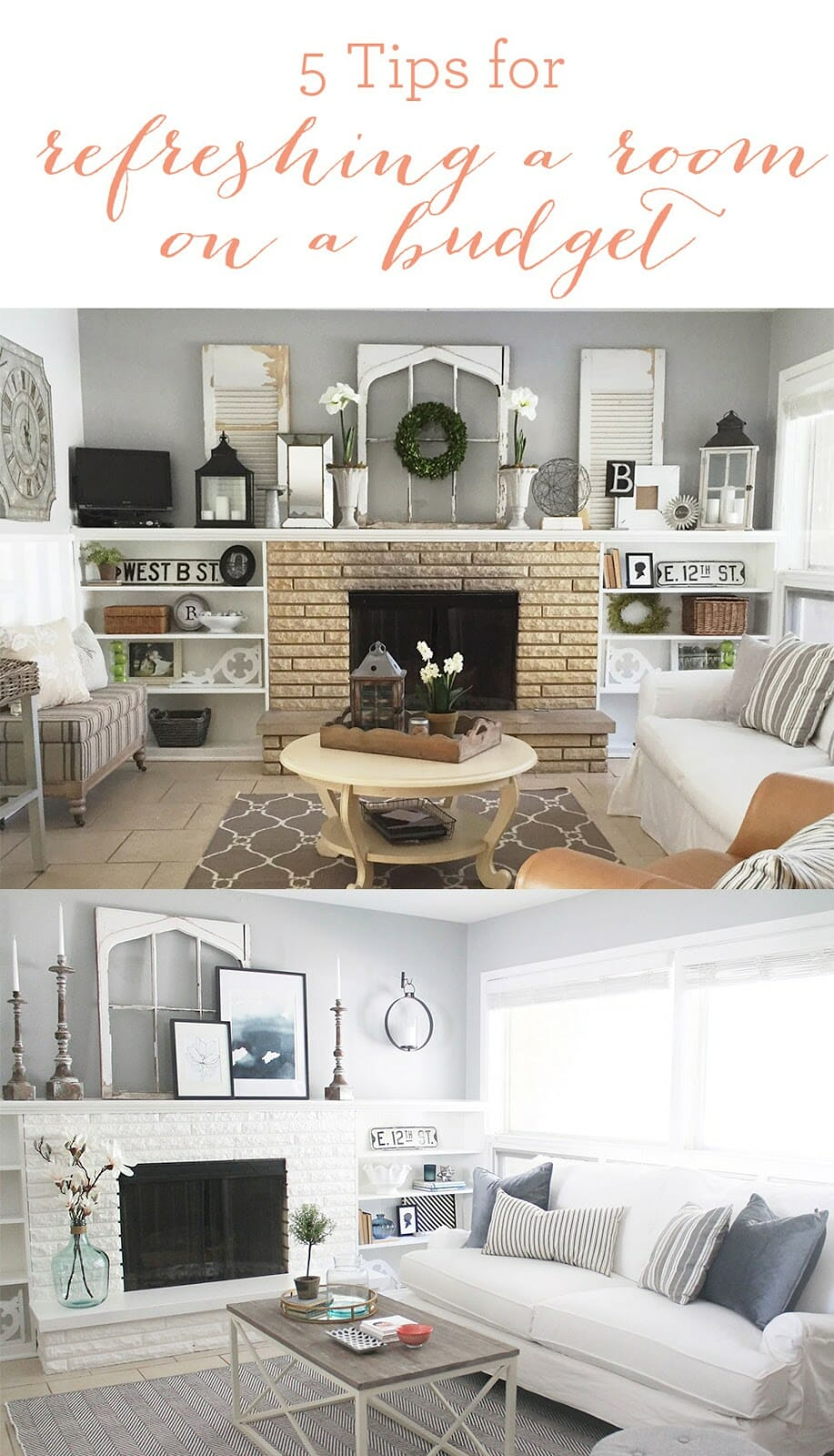 5 Tips for Refreshing a Room on a Budget (Hearth Room Reveal)